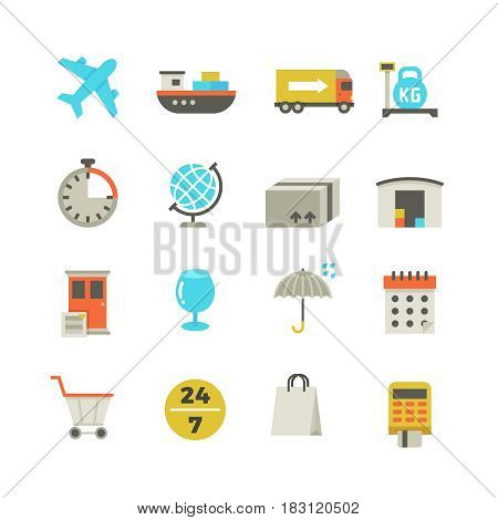 Import and export delivery logistics, aircraft shipping, loading vector flat icons. Global delivery service, illustration of collection color delivery icons