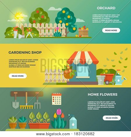Gardening vector banners with garden tools, seeds and plants icons. Orchard and gardening shop, home flower, illustration of web banner garden