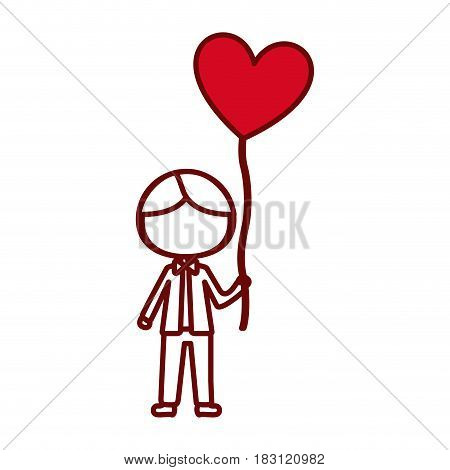 red silhouette of caricature faceless kid with bow tie and balloon in shape of heart vector illustration