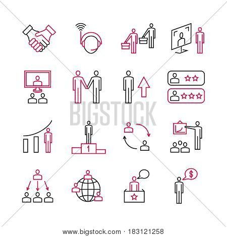 Business analysis and expert support of customers, teamwork and leadership vector pictograms. Business management, illustration of partnership and corporate in business