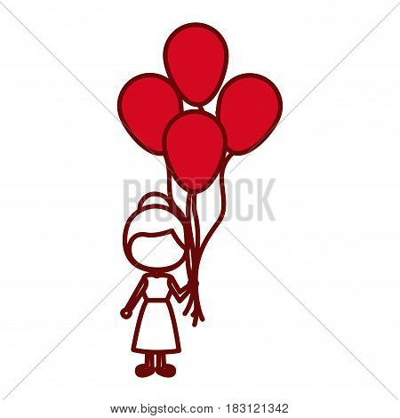 red silhouette of caricature faceless girl with dress and many balloons vector illustration