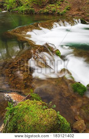 Mountain River In The Springtime, close up. Grza river, East Serbia