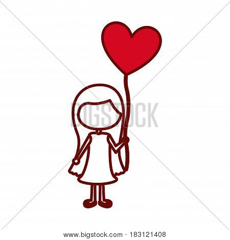 red silhouette of caricature faceless girl with dress and long hair with balloon in shape of heart vector illustration