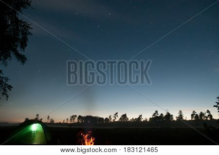 Camping under starry sky . Travel concepts of activity and rest outdoors.