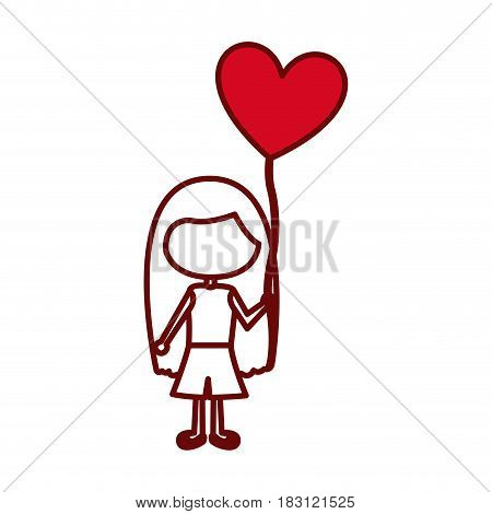 red silhouette of caricature faceless girl with t-shirt and short pants and balloon in shape of heart vector illustration