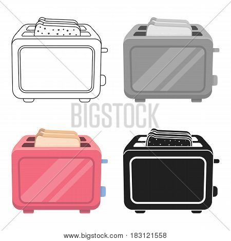 Toaster icon in cartoon style isolated on white background. Household appliance symbol vector illustration.