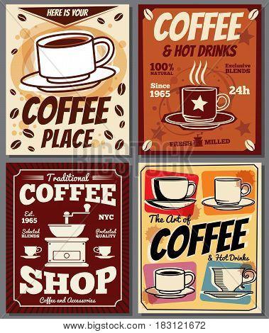 Cafe and restaurant retro posters vector templates with coffee stain. Coffee shop banner menu, illustration of vintage poster cafeteria coffee