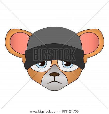 Mouse cartoon flat cute card on white background