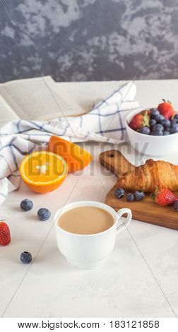 Morning Breakfast. Croissant With Berries And Cup Of Coffee, On White Background