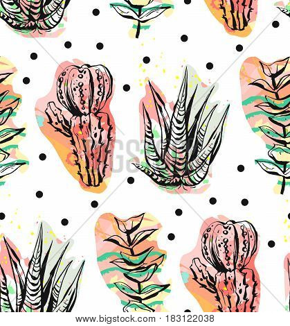 Hand drawn vector abstract graphic creative succulentcactus and plants seamless pattern on polka dots background.Unique unusual hipster trendy design.Weddingsave the datebirthdayfashion fabric