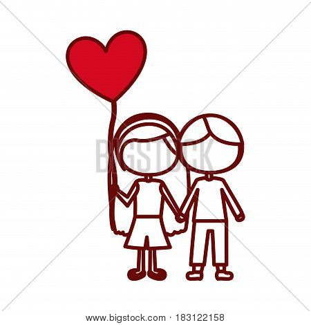 red silhouette of caricature faceless couple kids in casual clothes with balloon in shape of heart vector illustration