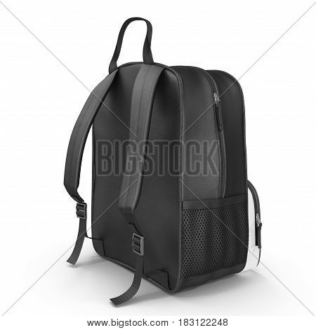 School backpack isolated on white background. Rear view. Sport travel rucksack closeup. 3D illustration