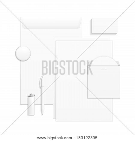 Set Of Corporate Identity And Branding Stationery Templates. Business card, Pen, CD, Envelope, Notebook, Lighter, Icon. Illustration On White Background. Mock Up Template