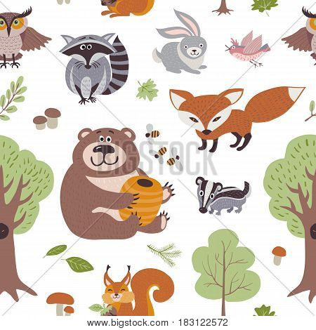 Forest summer plants and woodland animals vector seamless pattern. Forest animals backdrop, illustration of animal on background raccoon and hare