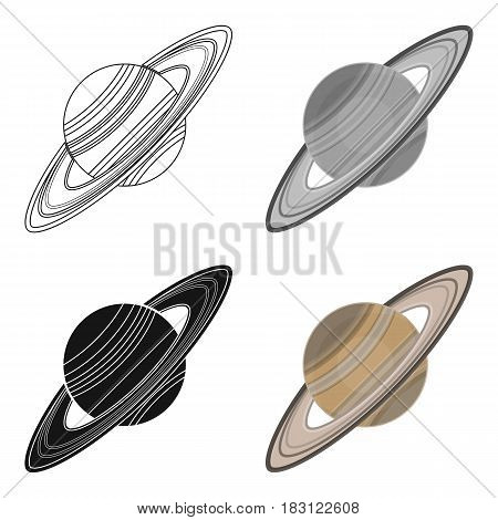 Saturn icon in cartoon design isolated on white background. Planets symbol stock vector illustration.