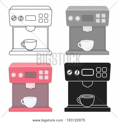Coffeemaker icon in cartoon style isolated on white background. Household appliance symbol vector illustration.