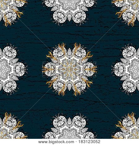 Gold Sketch on texture background.Damask pattern repeating background. Gold blue floral ornament in baroque style. Golden element on blue background.