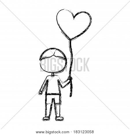 monochrome sketch of caricature faceless kid with t-shirt and short pants with balloon in shape of heart vector illustration