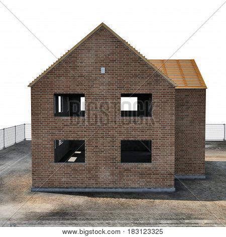 New house under construction on white background. Side view. 3D illustration