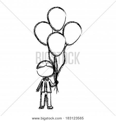 monochrome sketch of caricature faceless kid with bow tie and many balloons vector illustration