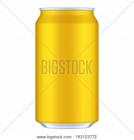Yellow, Orange, Golden Blank Metal Aluminum 330ml Beverage Drink Can. Illustration Isolated. Mock Up Template Ready For Your Design. Vector EPS10