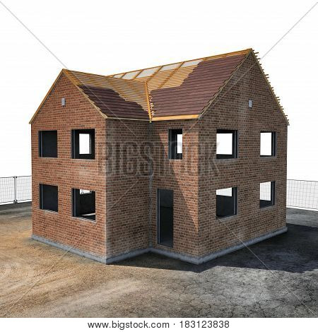 New house under construction on white background. 3D illustration