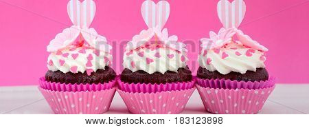 Mothers Day Pink And White Cupcakes Social Media Banner