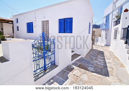 traditional houses with blue widows at Sifnos island Cyclades Greece