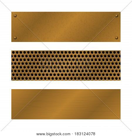 Techno vector banners. Brushed Brass copper latticed surface template. Abstract industrial illustration for web engineering construction. Perforated Metal background with rivets. Metallic texture.
