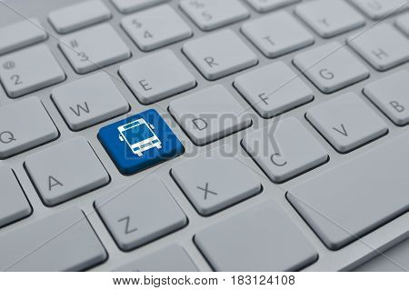 Bus flat icon on modern computer keyboard button Internet business transportation service concept