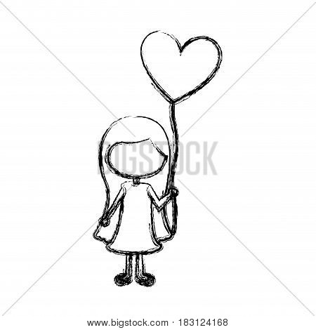 monochrome sketch of caricature faceless girl with dress and long hair with balloon in shape of heart vector illustration
