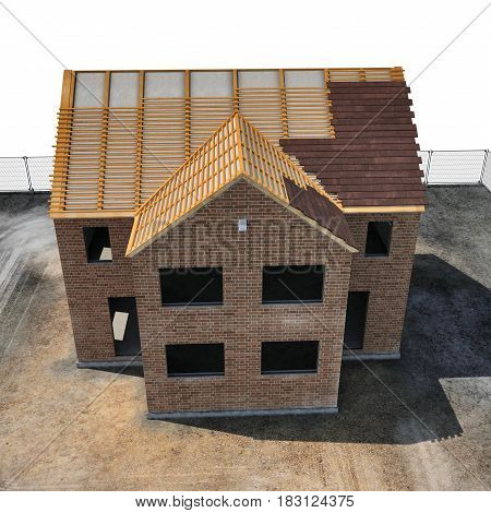 New house under construction on white background. Angle from up. 3D illustration