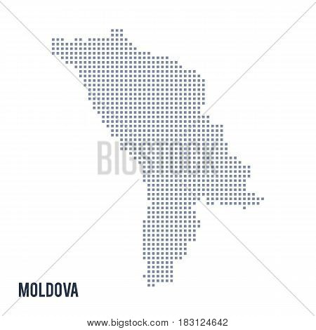 Vector Pixel Map Of Moldova Isolated On White Background