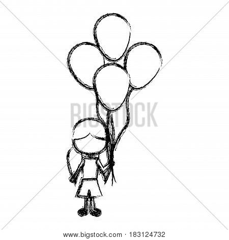 monochrome sketch of caricature faceless girl with short pants and pigtails hairstyle and many balloons vector illustration