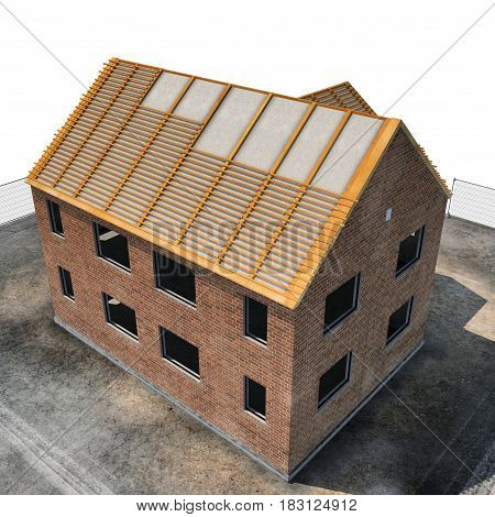 New home being built with bricks on white background. Angle from up. 3D illustration