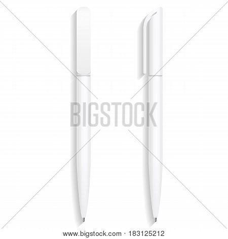 en, Pencil, Marker Set Of Corporate Identity And Branding Stationery Templates. Illustration Isolated On White Background. Mock Up Template Ready For Your Design. Vector illustration