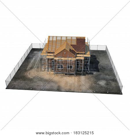 New home being built with bricks on white background. 3D illustration