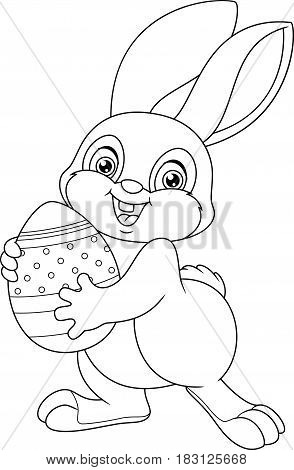Easter bunny holding an egg, Coloring Page
