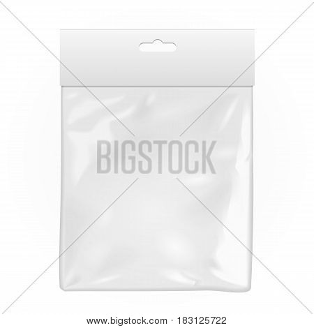 White Blank Plastic Pocket Bag. Transparent. With Hang Slot. Illustration Isolated On White Background. Mock Up Template Ready For Your Design. Vector EPS10