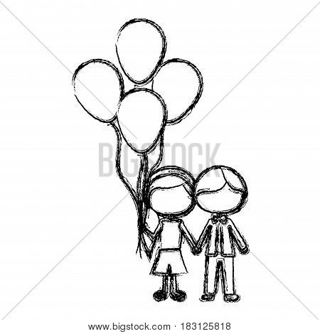 monochrome sketch of caricature faceless couple of boy short hair and girl with side hairstyle with many balloons vector illustration