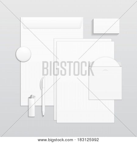 Set Of Corporate Identity And Branding Stationery Templates. Business card, Pen, CD, Envelope, Notebook, Lighter, Icon. Illustration On Gray Background. Mock Up Template