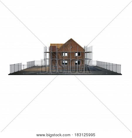 construction of private houses of brick on white background. Side view. 3D illustration