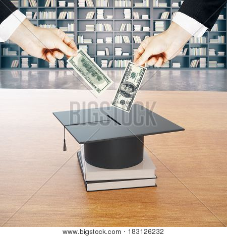 Businessmen putting dollar pills in mortarboard money bank. Library background. Saving for school education. 3D Rendering