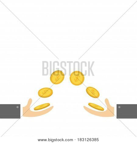 Giving and taking Hands with flying golden coin money dollar sign. Helping hand concept. Flat design style. Business support credit icon set. White background. Vector illustration.