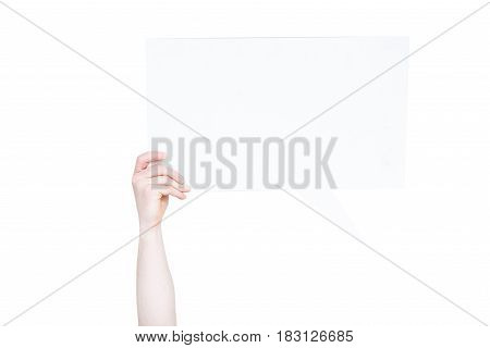 person holding empty speech bubble with copy space isolated on white
