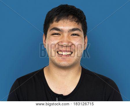 Young Adult Man Face Smile Expression Studio Portrait