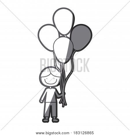 grayscale silhouette of caricature of smiling kid with t-shirt and pants with many balloons vector illustration