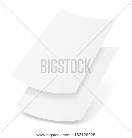 Two Blank Paper Leaflet, Flyer, Broadsheet, Flier, Follicle, Leaf A4 With Shadows. Illustration Isolated On White Background. Mock Up Template Ready For Your Design. Vector EPS10