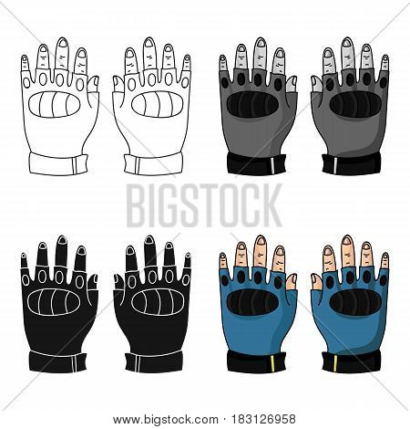 Fingerless gloves icon in cartoon design isolated on white background. Paintball symbol stock vector illustration.