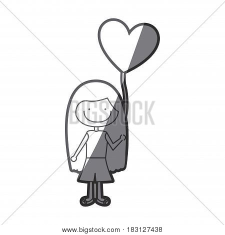 grayscale silhouette of caricature of smiling girl with t-shirt and short pants and balloon in shape of heart vector illustration
